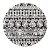 Mandala Round Area Rug 4' Diameter, KIMODE Vintage Soft Faux Wool Area Rug Accent Distressed Collection Non-Slip Machine Washable Indoor Throw Rugs Floor Carpet for Bedrooms Living Room Laundry Room