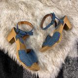 Anthropologie Shoes   Anthro Blue Suede Sanita Clog Sandals 38 7.5 8   Color: Blue/Tan   Size: 8