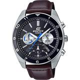 Casio Mens Analogue Japanese Quartz Watch with Real Leather Strap EFV-590L-1AVUEF