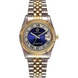 Unisex Crystal Dial with Stainless Steel Two Tone Watch Luminous Waterproof Quartz Dress Bracelet Watch (Blue dial)