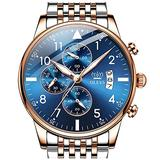 Chronograph Wrist Watches Men,Gold Blue Watches for Men,Stainless Steel Man Watch with Date,Big Dial Watches for Men,Luxury Waterproof Man Watch,Two Gold Men Watch,OLEVS Luminous Wristwatch Mens