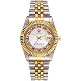 Unisex Crystal Dial with Stainless Steel Two Tone Watch Luminous Waterproof Quartz Dress Bracelet Watch (White dial)