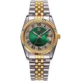 Unisex Crystal Dial with Stainless Steel Two Tone Watch Luminous Waterproof Quartz Dress Bracelet Watch (Green dial)