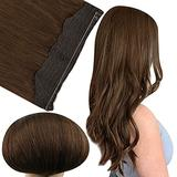 Fshine Secret Crown Hair Seamless 18 Inch Hair Extensions with Invisible Transparent Wire Layered Hair Extensions Dark Brown Fish Line Hair Extensions Human Hair Piece Headbands for Women 80 Gram