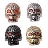 DOUVEI 10 Pcs Zircon Pave Rhinestones 4 Color Skull Charms Beads Connector Spacer Beads Bracelet Connector Charms Beads for Jewelry Making 13x11mm (Skull)