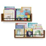 Rustic State Solid Wood Baby Nursery Kids Room Bookshelf | Farmhouse Wall Shelves Walnut Set of 2