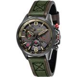 Hawker Harrier Ii Chronograph Retrograde Edition Army Green Genuine Leather And Nylon Strap Watch 45mm - Green - AVI-8 Watches