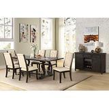 Best Master Furniture Brenda Natural 7 Pcs Rectangle Dining Table Set, Espresso Brown