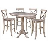 """International Concepts 36"""" Round Extension Four Bar Height Stools, Gary Dining Table, Washed Gray Taupe"""