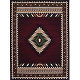 Champion Rugs Native American Tribal Western Indian Burgundy Area Rug (5 Feet 3 Inch X 7 Feet 5 Inch)