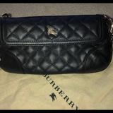 Burberry Bags | Authentic 100% Calf Leather Wrisletclutchcroosbo | Color: Black/Gold | Size: Os