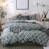 Grey Geometric Bedding Comforter Cover Set Full Reversible Meridian Duvet Cover Modern Soft Elegant Gray and White Geometric Design Bedding Sets for Women Men Teens, Abstract Geometric Decor Bedding