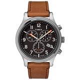 Timex Men's TW2T32900 Allied LT Chrono 42mm Brown/Black Leather Strap Watch