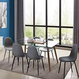 IDS Home 7 Piece Mid Century Clear Glass Top, Fabric Chairs of 6, Metal Leg Dining Room, Kitchen Table Set Furniture, Grey