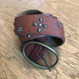 American Eagle Outfitters Accessories | American Eagle Brown Leather Studded Belt | Color: Brown | Size: Os