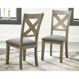 Laurel Foundry Modern Farmhouse® Emiliano Cross Back Side Chair in Wire-Brushed Wood/Upholstered/Fabric in Brown/Gray | Wayfair
