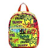 Retro Vintage Multicolor Colorful Graffiti Vegan Leather Tote Purse Handbag (Medium Pocket Backpack - Neon Multi)