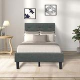 Twin Bed Frame, Upholstered Platform Bed with Headboard Bed Frame and Wood Slats, Twin, Gray