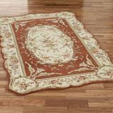 """Rose Aubusson Rectangle Rug, 7'3"""" x 9'3"""", Copper"""