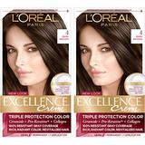 L'Oreal Paris Excellence Creme Permanent Hair Color, 4 Dark Brown, 100% Gray Coverage Hair Dye, Pack of 2