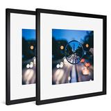 iDecorlife Premium 11x11 Black Picture Frames 2PCs - 8x8 Picture Frame with Mat or 11x11 Picture Frame Without Mat - Wall Mounting Ready Real Wood Photo Frame