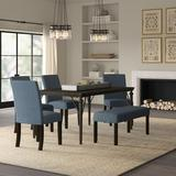 6-Piece Dining Set - Greyleigh™ Haysi Dining Set,, 6 Pieces: 1 Table, 4 Chairs, 1 Bench, Wood/Upholstered Chairs/Metal, Blue