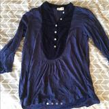 Anthropologie Tops | Blue Indigo Tuxedo-Style Tunic | Color: Blue/Purple | Size: S
