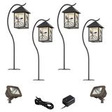French Garden Bronze 8-Piece LED Path and Flood Light Set