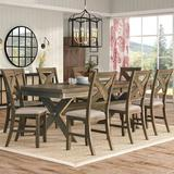 Gracie Oaks Poe 5 - Piece Extendable Dining Set Pieces Included: 9 Pieces: 1 Table, 8 Chairs, Wood/Upholstered Chairs/Solid Wood in Brown | Wayfair