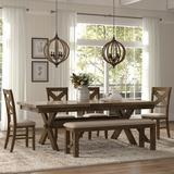 Dining Table, 4 Chairs - Gracie Oaks Poe Extendable Dining Set: 1 Table, 4 Chairs, 1 Bench, Wood/Upholstered Chairs/Solid Wood, Brown
