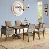 Dining Set - One Allium Way® Dasher Extendable Dining Set, 7 Pieces: 1 Table, 4 Chairs, 2 Arm Chairs, Solid Wood/Metal/Wood, Brown/Black