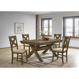 Gracie Oaks Poe 5 - Piece Extendable Dining Set Pieces Included: 5 Pieces: 1 Table, 4 Chairs, Wood/Upholstered Chairs/Solid Wood in Brown | Wayfair
