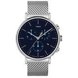 Timex Men's TWF3C8020 Fairfield Chrono 41mm Silver-Tone/Blue Stainless Steel Mesh Bracelet Watch