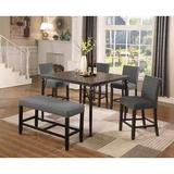 Dining Table Set - Greyleigh™ Haysi Counter Height Dining Set,, 6 Pieces: 1 Table, 4 Chairs, 1 Bench, Wood/Upholstered Chairs/Metal, Gray