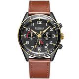 Ruimas Fashion Chronograph Watches for Men Luxury Brown Leather Strap Watch Man Waterproof Military Quartz Wristwatch