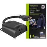 GE Enbrighten Z-Wave Plus Smart Outdoor Switch, 1-Outlet Plug-In (2nd Gen.), Weather-Resistant, Works with Alexa, Google Assistant, for Landscape & Seasonal Lighting, ZWave Hub Required, 14298,Black
