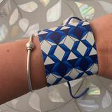 Anthropologie Jewelry   Blue Geometric Cuff Bracelet From Alv Jewels   Color: Blue/White   Size: Os