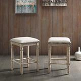 Roundhill Furniture Arnhem Wood Upholstered Swivel Counter Height Stools, Set of 2, Tan