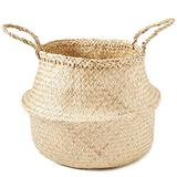 """Americanflat Natural Hand-Woven Palm and Seagrass Belly Baskets (11"""" Tall)"""