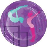 Creative Converting Gymnastics Heavy Weight Paper Disposable Dessert Plate Heavy Duty Paper in Blue/Indigo/Pink   Wayfair DTC346255PLT