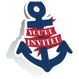 Creative Converting Nautical Baby Invitations Paper in Blue/Red | Wayfair DTC346386INV