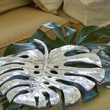 "Mariposa Swiss Cheese Leaf Coffee Table Tray, Metal in Silver, Size Large (12-17"" W) | Wayfair 1755"