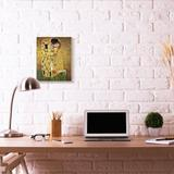 Stupell Industries 'Patterned Gold Green Classic Figure' by Gustav Klimt - Painting Print in Brown, Size 19.0 H x 13.0 W x 0.5 D in   Wayfair
