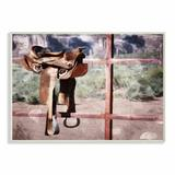 Stupell Industries 'Saddle on Fence Farm Horse Riding' by Milli Villa - Painting Print in Brown/Red, Size 10.0 H x 15.0 W x 0.5 D in   Wayfair