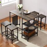 17 Stories Brendis 5 - Piece Counter Height Dining SetWood/Metal in Black, Size 35.8 H x 23.6 W x 43.3 D in   Wayfair