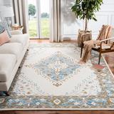 World Menagerie Bridgham Oriental Handmade Tufted Wool Ivory/Area Rug Wool in Blue, Size 120.0 H x 96.0 W x 0.59 D in | Wayfair