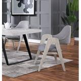Gracie Oaks Norazn Upholstered Solid Wood Arm Chair in GrayUpholstered/Fabric in Brown/Gray/White, Size 35.5 H x 24.0 W x 27.5 D in | Wayfair