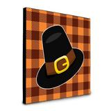 Harriet Bee Chabert Thanksgiving Pilgrim Hat Framed Art Wood in Black/Brown/Orange, Size 8.0 H x 8.0 W x 0.625 D in | Wayfair