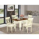 Ophelia & Co. Duxbury Drop Leaf Rubberwood Solid Wood Dining Set Wood/Upholstered Chairs in Brown/White, Size 30.0 H in | Wayfair