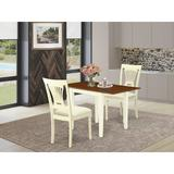 Ophelia & Co. Duxbury Drop Leaf Rubberwood Solid Wood Dining Set Wood/Upholstered Chairs in Brown/White, Size 30.0 H in   Wayfair